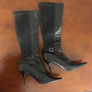 Calvin Klein leather pull on stiletto boots.